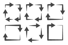 方形的箭头象集合 免版税图库摄影