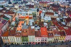 方形的老城市的顶视图 免版税库存照片