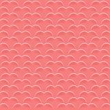 方形的背景为情人节 珊瑚颜色的心脏的无缝的样式 飞行物或邀请模板  皇族释放例证
