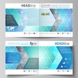方形的设计双的企业模板折叠小册子,飞行物 传单盖子,传染媒介布局 化学样式 库存例证