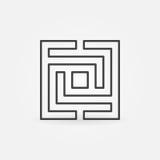 方形的迷宫或迷宫象 库存例证