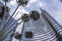 方形的Gael Aulenti,米兰,意大利 免版税图库摄影