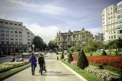 方形的Moyua在毕尔巴鄂,西班牙 免版税库存照片