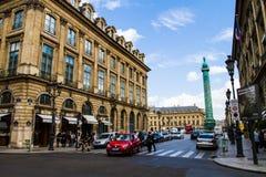 方形的Vendome在巴黎 图库摄影
