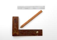 方形铅笔和统治者 免版税库存照片