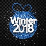 方格的冬天2018卡片 向量例证