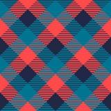 方格的在灰色蓝色的方格花布织品无缝的样式和桃红色,传染媒介 图库摄影