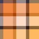 方格的在米黄和橙色,传染媒介的格子呢织品无缝的样式 向量例证
