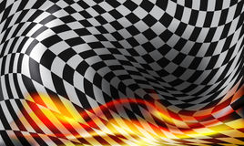 方格的旗子背景和红色火焰 免版税库存照片
