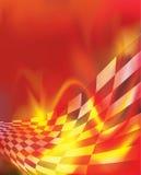 方格的旗子背景和红色火焰 库存照片