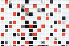 方格的样式瓦片背景、红色和黑色检查 库存照片