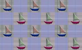方格的格子花呢披肩风船 免版税图库摄影