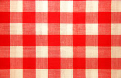 方格的红色桌布白色 库存图片