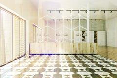 方格的被定调子的地板全景办公室 免版税库存图片