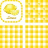 方格花布无缝柠檬的模式 免版税库存照片
