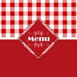 方格花布样式菜单设计 免版税库存图片