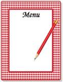 方格花布菜单红色 库存图片