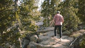 方格衬衣远足的后面看法年轻人,上升在白色岩石在美丽的优胜美地国立公园慢动作 影视素材