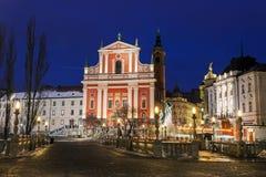 方济会教会、Preseren广场和三倍桥梁 免版税库存照片