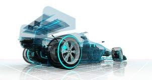 方程式赛车技术wireframe剪影透视后面视图 向量例证
