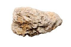 方解石石头:是在白色背景和碳酸钙最稳定的多形体隔绝的碳酸盐矿物 免版税库存照片