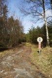 施内费尔丁根-对自然保护Luneburg荒地的入口 库存图片
