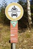 施内费尔丁根-对自然保护Luneburg荒地的入口 免版税库存照片