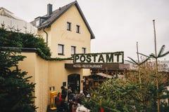施泰尔,奥地利- 2017年12月:对圣诞节岗位O的入口 免版税库存图片