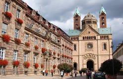 施派尔都市风景有它的历史街市和大教堂的 免版税图库摄影