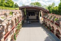 施洛斯山的露天剧院Kasematten, Castle Rock,在格拉茨,奥地利 库存图片