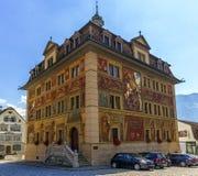 施维茨或Schwytz市政厅,瑞士 图库摄影