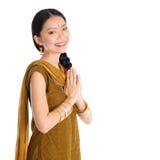 旁遮普语的妇女给问候穿衣 库存照片