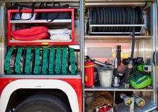 旅团汽车设备火抢救 库存照片