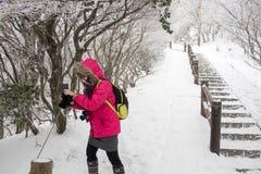 旅客享用摄影别府索道充满雪 库存图片