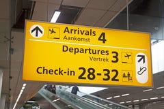 旅客信息在机场 免版税图库摄影
