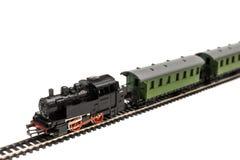 旅客列车的老模型 库存照片