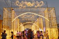 旅客参观气氛在泰国照明节日的2017年 免版税图库摄影