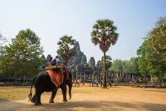 旅客在Bakheng乘坐大象 免版税库存图片