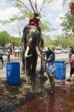 旅客泰国妇女摆在和旅行加入与Songkran节日在一传统泼水节庆祝在阿尤特拉利夫雷斯 免版税库存图片