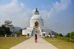 旅客泰国妇女旅行努力去做世界和平塔在博克拉 免版税库存图片