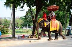 旅客游览的骑马大象在阿尤特拉利夫雷斯古城附近 免版税图库摄影