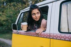 旅客用在微型货车的咖啡 库存照片