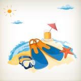旅游业。假日在海边。 图库摄影