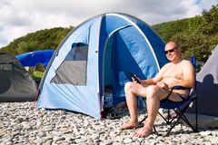 旅游业。 野营 图库摄影