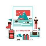 旅游业和旅行套现代平的设计元素 库存图片