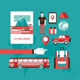 旅游业和旅行套现代平的设计元素 免版税库存照片