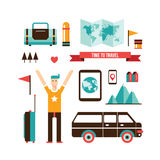 旅游业和旅行套现代平的设计元素 免版税图库摄影