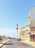 旅游业在西班牙 灯塔的葡萄酒视图在花名册,卡迪士的, 库存图片