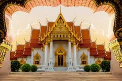 旅游业大理石寺庙最好  云石寺在曼谷泰国 免版税库存图片