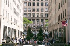 旅游业洛克菲勒中心,纽约 库存照片